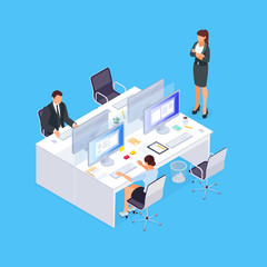 Isometric concept of office life.