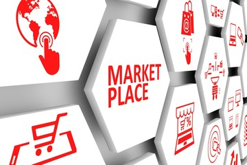 MARKET PLACE concept cell background 3d illustration Wall mural