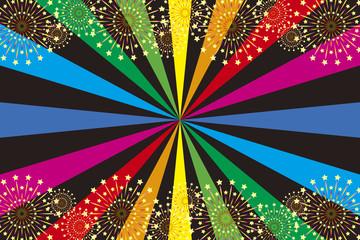 和風背景素材壁紙,打ち上げ花火,スターマイン,夏祭り,花火大会,伝統行事,虹色,集中線,風物詩,夜景