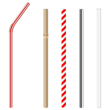 modern reusable glass, steel, paper and bamboo drinking straws as alternative replacement for classic disposable plastic drinking straw, isolated objects on white background, stock vector illustration