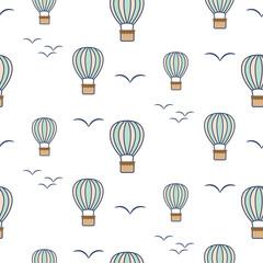 Hot air balloons and birds seamless vector pattern.