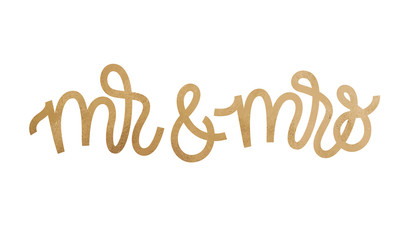 Mr and Mrs text on white background. Hand drawn Calligraphy lettering Vector illustration with golden glitter effect.
