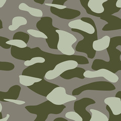 Camouflage pattern background seamless vector illustration. Classic military clothing style. Camo repeat texture shirt print. Grey khaki navy olive colors marines texture