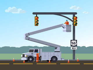 Bucket truck service electrician worker repair or reinstall traffic lights at highway. Aerial work bucket vehicle. Modern vector illustration.