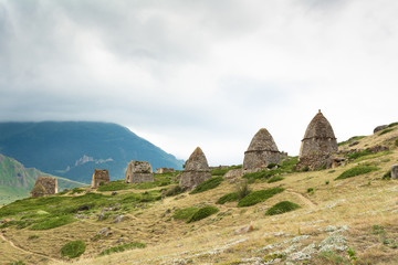 The view on remains of ancient necropolis, Kabardino-Balkaria, Russia .