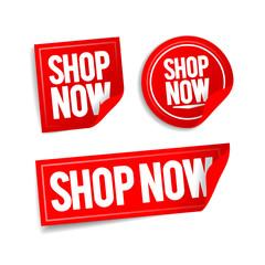 vector illustration shop now buttons, online store stickers set