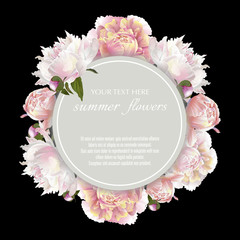 Template for greeting cards, wedding decorations, sales. Round Vector banner with peonies flowers. Spring or summer design.