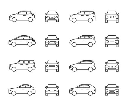 Cars front and side view line signs, auto symbols. Vehicle outline vector icons isolated on white background