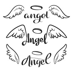 Doodle flying angel wings with halo. Sketch angelic wings. Freedom and religious tattoo vector design isolated on white background