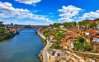 Fototapete - Porto, Portugal. View at river Douro with bridge and houses
