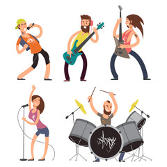 Rock musicians and singers isolated on white background