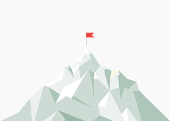 flat flag on mountain. Low poly design. Success illustration. Goal achievement. Business concept. Winning of competition or triumph.