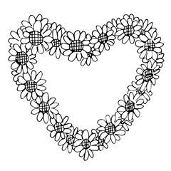 Freehand illustration of retro flower design heart shape