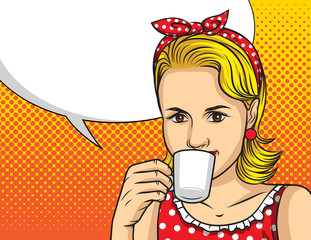 Vector colorful pop art comic style illustration of a pretty woman in red dress drinking a coffee. Portrait of young beautiful lady with cup of hot drink