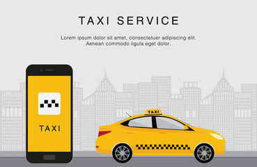 Taxi service. Mobile phone with taxi app and yellow taxi on city background. Flat vector illustration. Call a taxi