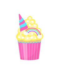 Cute cupcake decorated with rainbow and unicorn horn. Isolated on white background. Vector illustration.