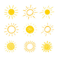 Vector Doodle Sun, Set of Hand Drawn Funny Icons Background,.