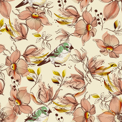 Fototapete - Pink flowers and birds pattern
