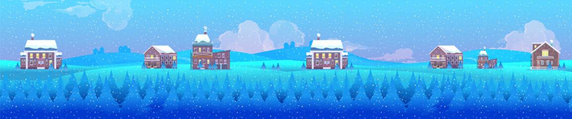 Vector illustration of a winter village landscape, horizontal background for your design