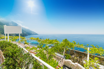 Terrace by the sea in world famous Positano coast