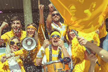 group of fans dressed in yellow color