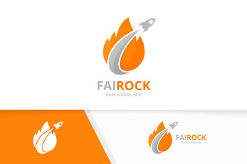 Vector fire and rocket logo combination. Flame and airplane symbol or icon. Unique torch and flight logotype design template.