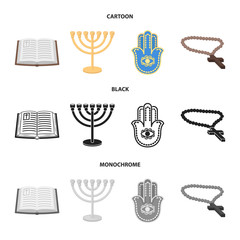 Bible, menorah, hamsa, orthodox cross.Religion set collection icons in cartoon,black,monochrome style vector symbol stock illustration web.