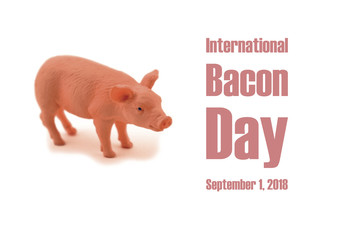 International Bacon Day illustration. Pink pig isolated on a white background. American feast of bacon. Awareness Day. Important day