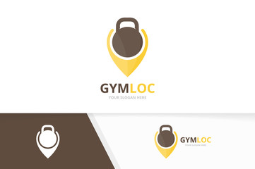 Vector sport and map pointer logo combination. Gym and gps locator symbol or icon. Unique fitness and pin logotype design template.
