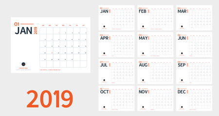 Vector of 2019 new year calendar in clean minimal table simple style and blue and orange color,Holiday event planner,Week Starts Sunday.include holiday event.A5 sizeใ
