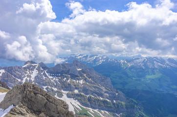 On peak of the Säntis, Swiss Alps