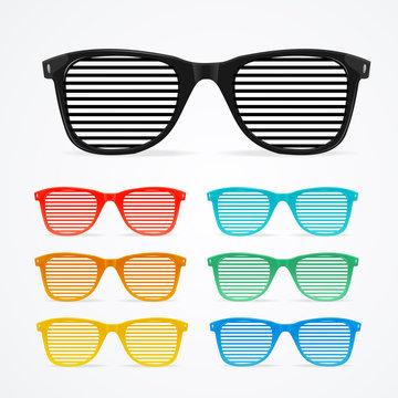 Sunglasses Striped Colorful Set Retro Concept. Vector