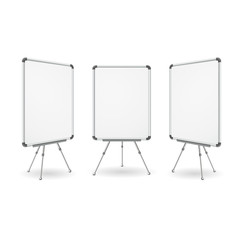 Realistic Detailed 3d White Board Set. Vector