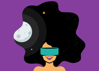 Excited woman wearing vr helmet for space simulation and digital gaming into her head. The future is coming for virtual reality flat vector illustration of innovation hi-tech equipment and users.