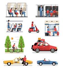 Transportation Vehicles People Set