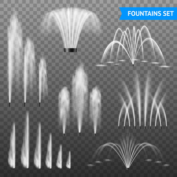 Realistic Fountain Transparent Set