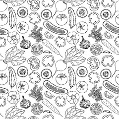 Vegetable Seamless Pattern with Cucumbers, Red Tomatoes, Bell Pepper, Beet, Carrot, Onion. Fresh Green Salad. Healthy Vegetarian Food. Hand Drawn Illustration. Doodle Style.