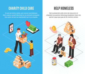Charity Isometric Vertical Banners