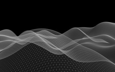 Abstract landscape on a dark background. Cyberspace grid. Hi-tech network. . 3D illustration
