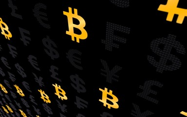 Bitcoin and currency on a dark background. Digital Cryptocurrency symbol. Business concept. Market Display. 3D illustration