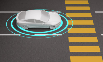 impersonal car with sensors in front of a pedestrian crossing
