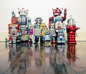 a team of vintage robots