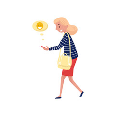 Young smiling woman walking and sending laughing emoji. Social network and communication theme. Flat vector design