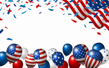 American flag and balloon with copy space vector illustration
