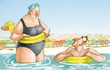 elderly couple to the sea character design humor illustration