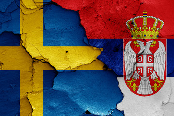 flags of Sweden and Serbia
