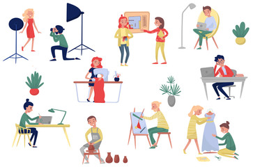 People of different artistic professions. Photographer and model, fashion and interior designers, freelancers and artists. Flat vector set