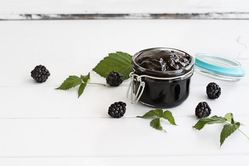 Blackberry Preserves and Fruit on Wood Table