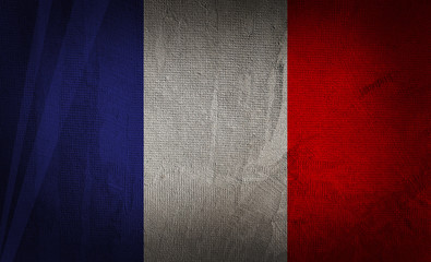Flag of france on the dark texture background