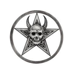 Art Pentagram Devil Skull Tattoo. Hand pencil drawing on paper.